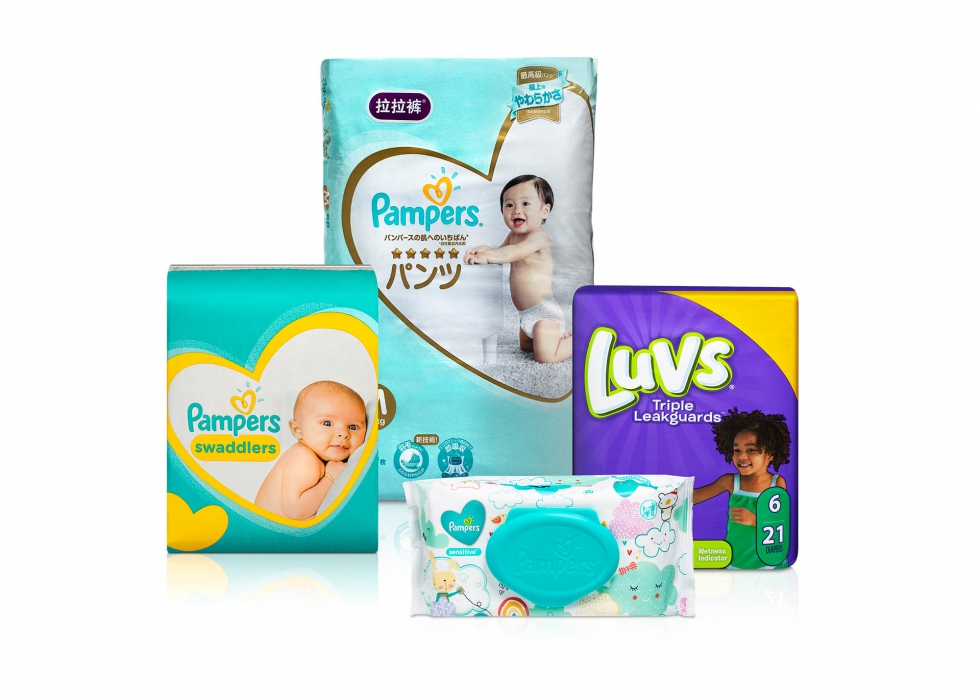 Product family of P&G baby care products - P&G product photography