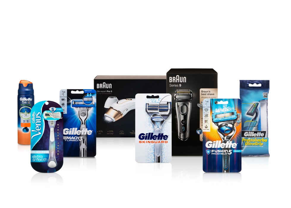 Product family of P&G shaving products - P&G product photography