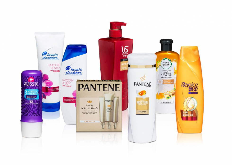 Product family of P&G hair care products - P&G product photography