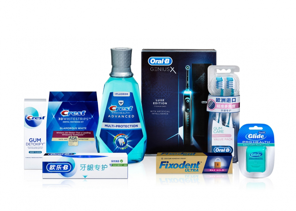product family of crest, oral b and more P&G oral care product - P&G product photography
