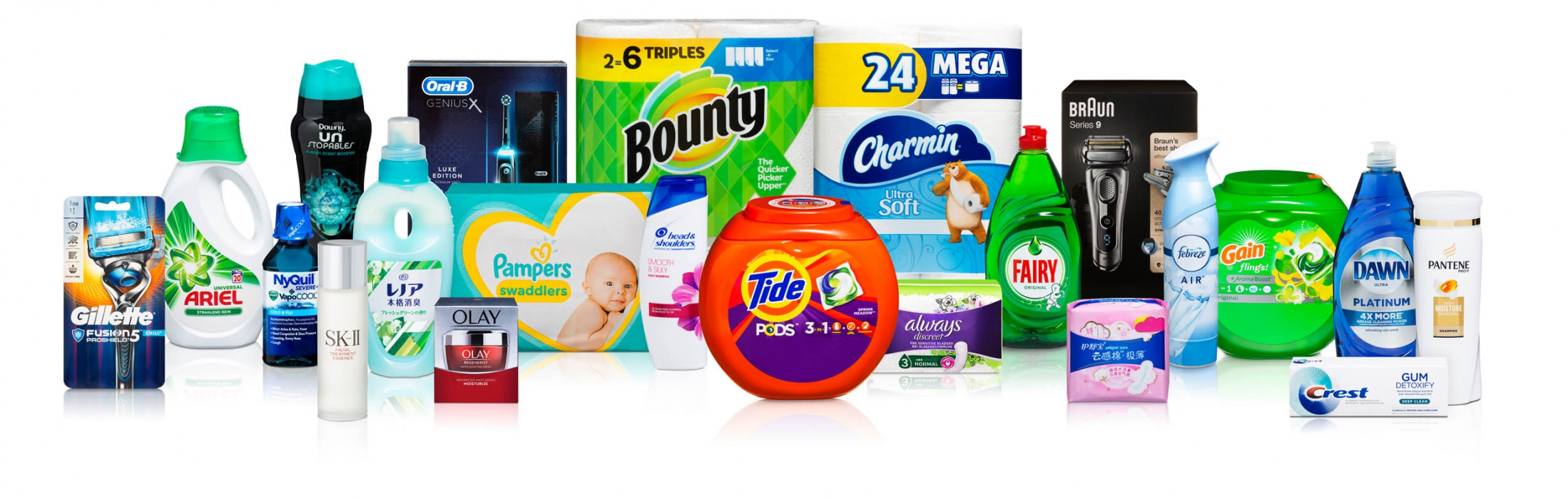 Product family of P&G cleaning and care products - P&G product photography