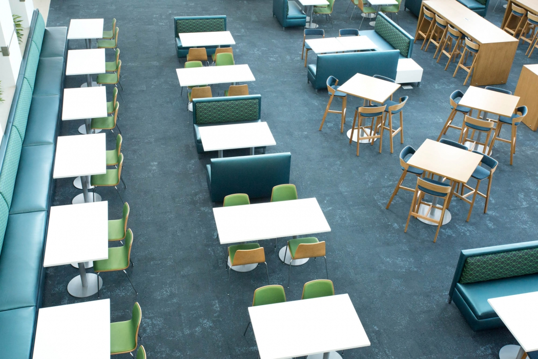 over head view of tables at p&g - architectural photography