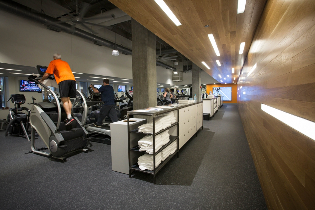 in office gym area at p&g - architectural photography