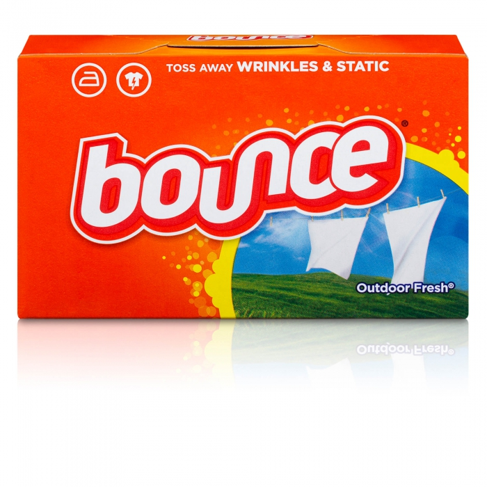 Bounce Dryer sheets on white with reflection - p&g product photography