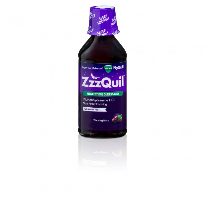 NyQuil on white with reflection - p&g product photography