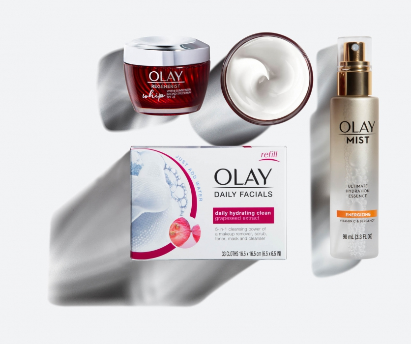 olay facial family on white with shadow - p&g product photography