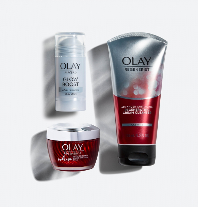 Olay product family on white with unique lighting - P&G Photography
