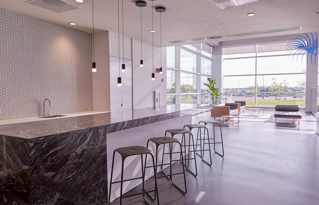 counter with benches at p&g - architectural photography