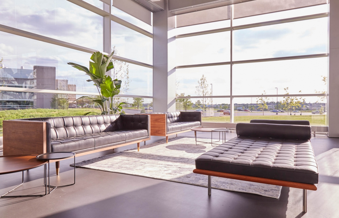 common space with couches and natural light at p&g - architectural photography