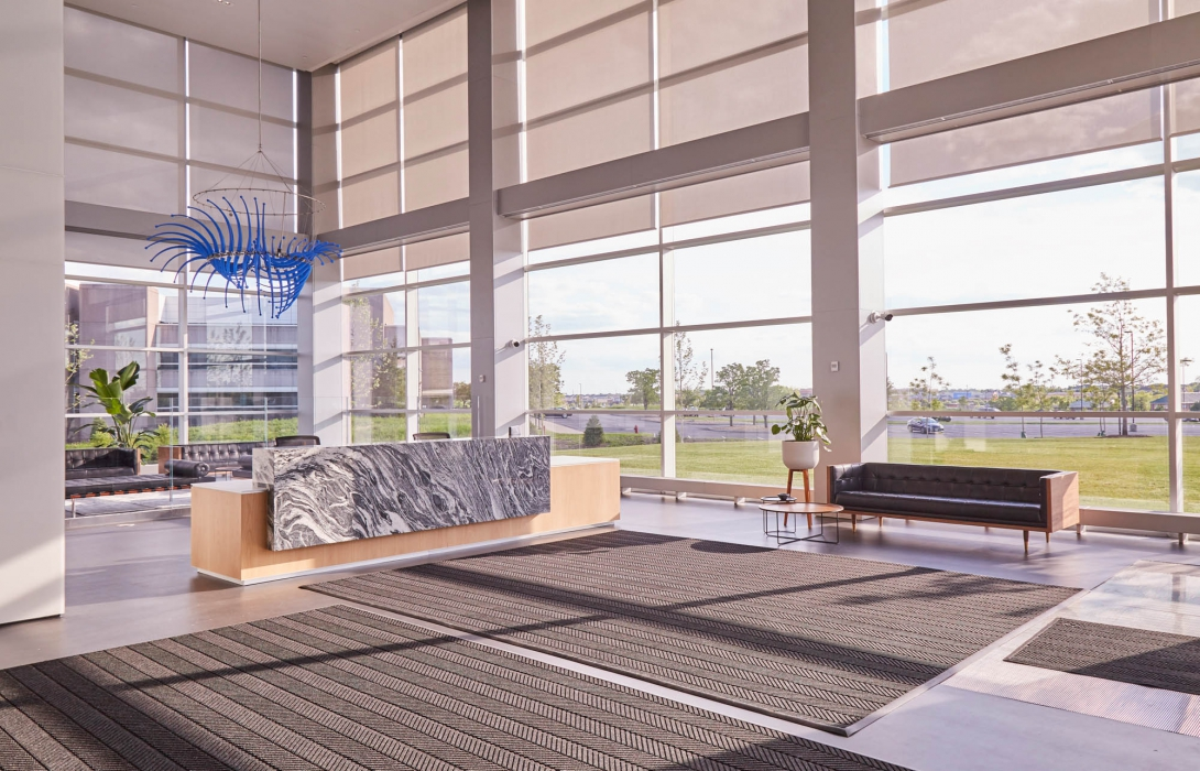 lobby with natural light at p&g - architectural photography