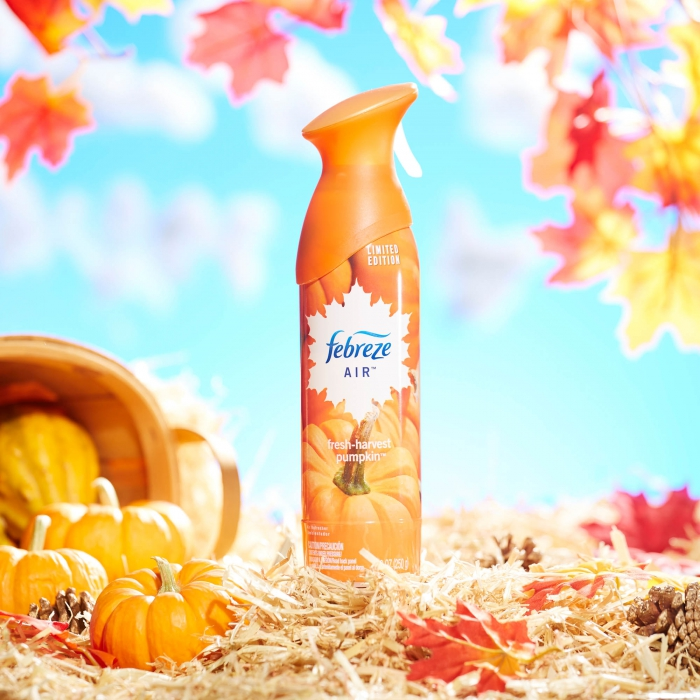 Febreze air pumpkin in fall scene - p&g product photography