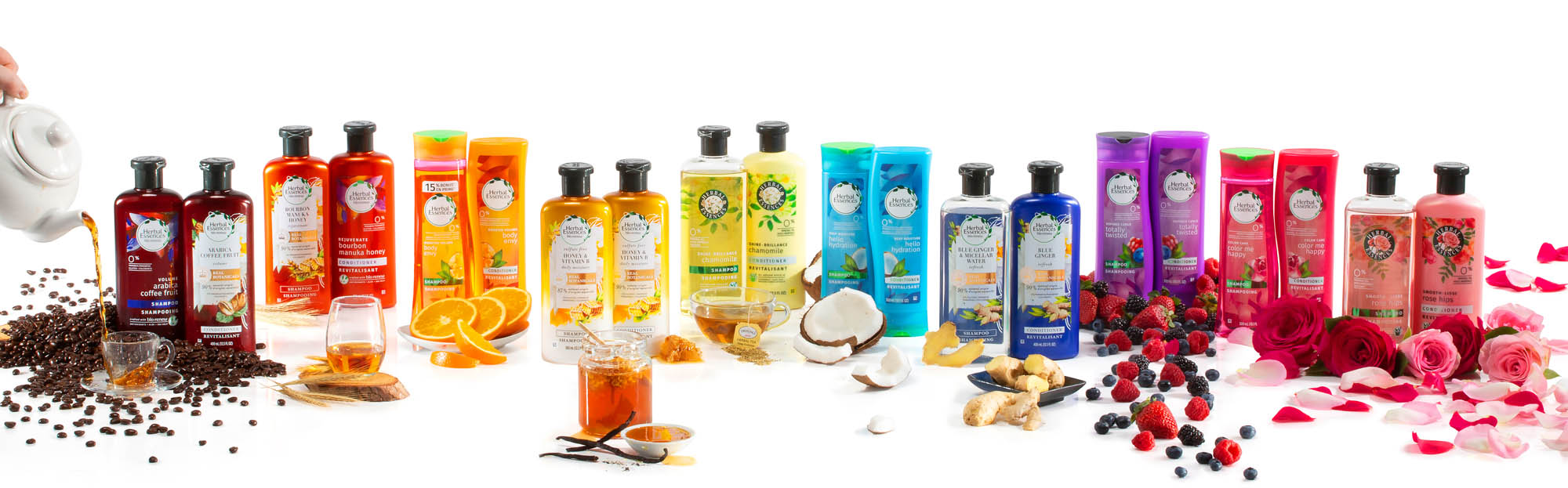 Herbal essence family with scent cues on white - p&g product photography