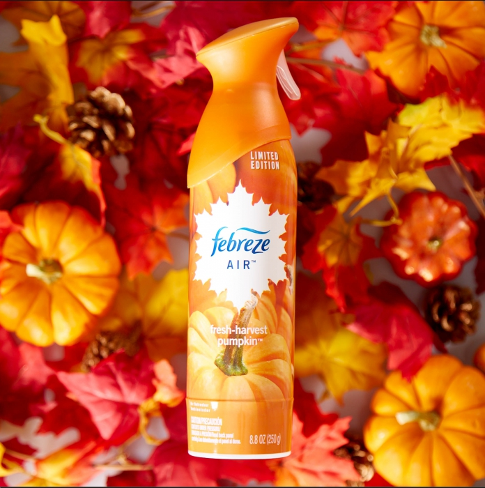 febreze air pumpkin with leaves and pumpkins - p&g product photography