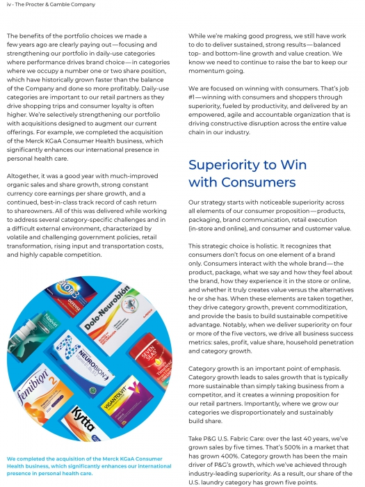 Page from P&G Annual report featuring photography