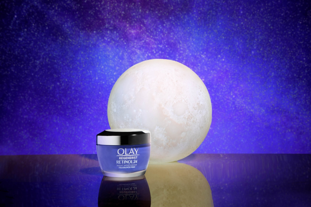 Olay retinol night time product with moon - social media product photography