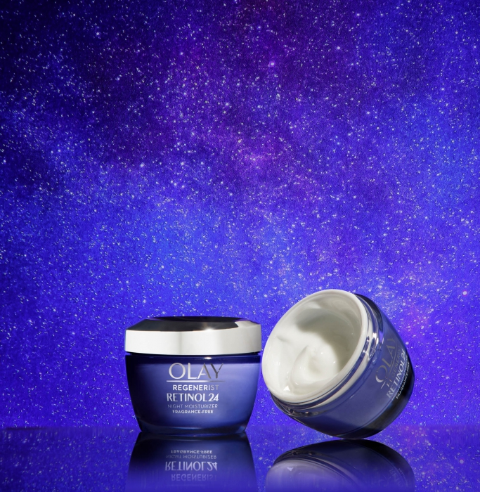 Olay retinol night time product - social media product photography