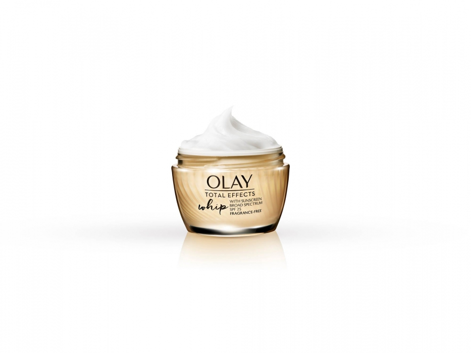olay total effects whip on white with reflection - p&g product photography