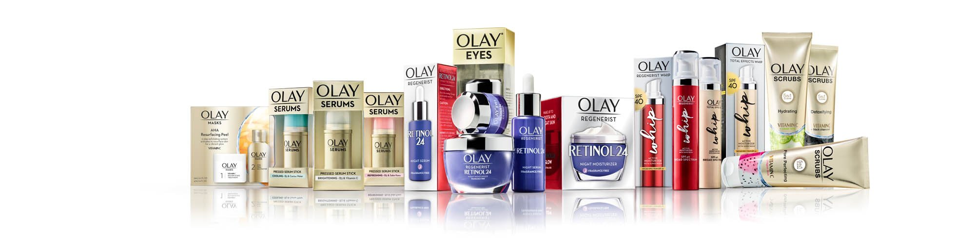 olay family on white with reflection - p&g product photography
