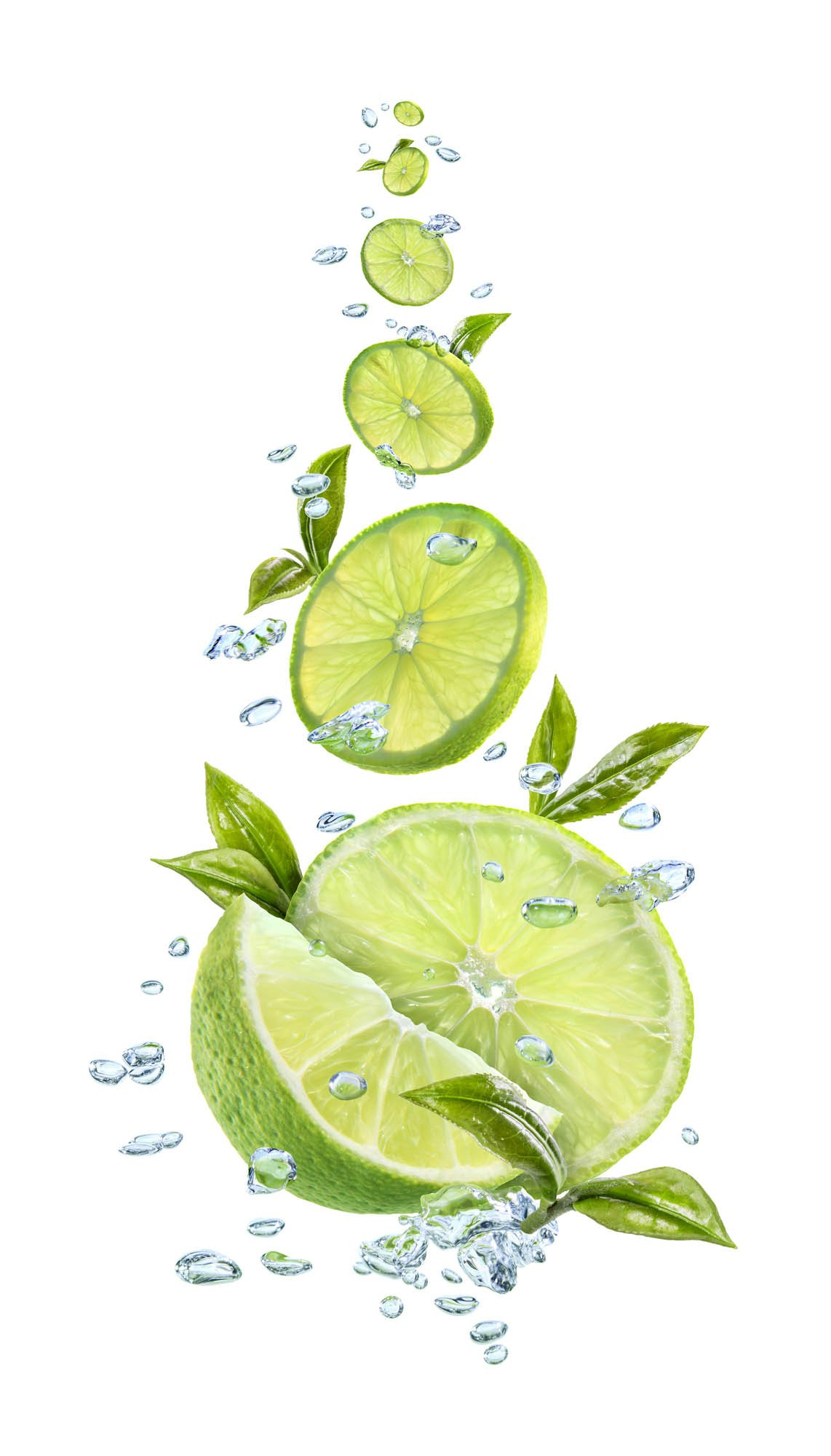 Photo retouched and edited falling limes with water