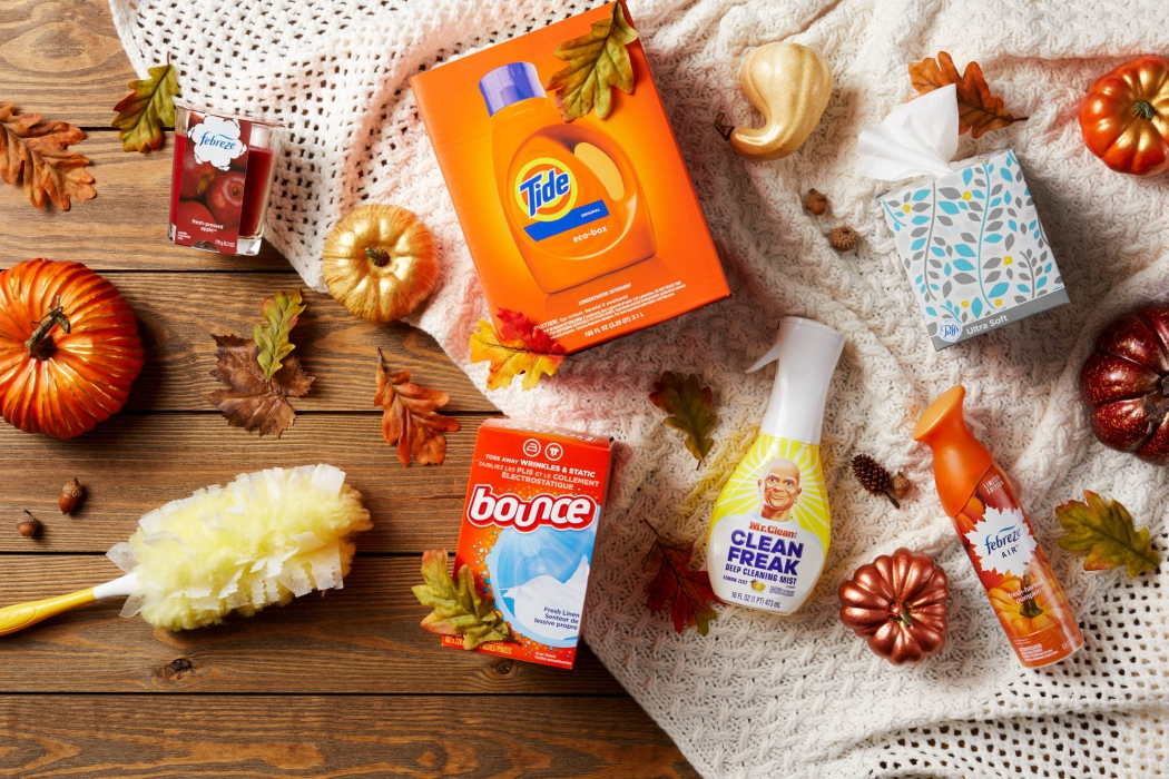 P&G products with tide and more on autumn - P&G product photography
