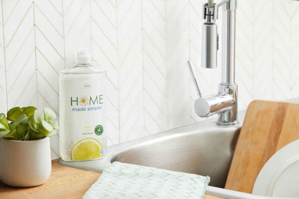 homemade simple dish soap in kitchen - p&g product photography