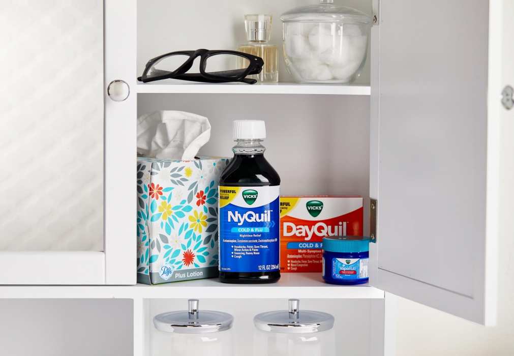 NyQuil DayQuil and Vicks in a cabinet - P&G Product Photography