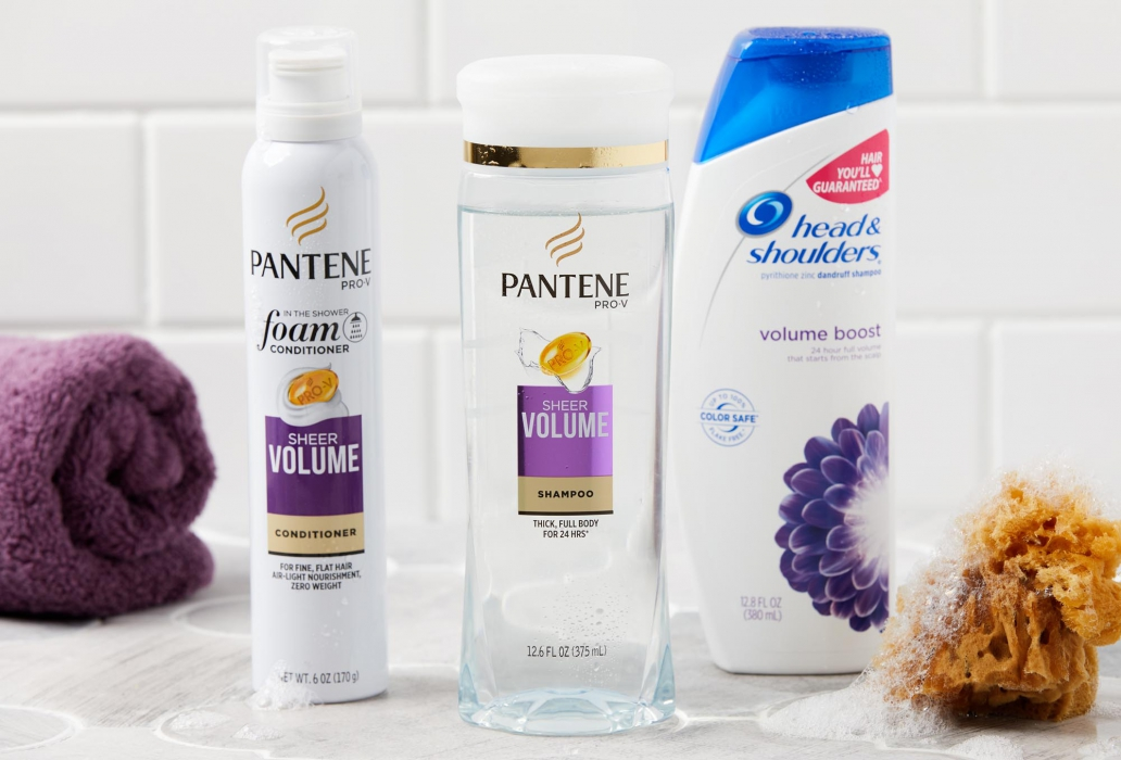 Pantene and headsholders products in a bathroom
