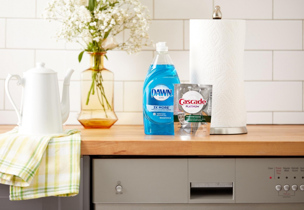 Dawn and cascade products on a kitchen counter above dishwasher - product photography