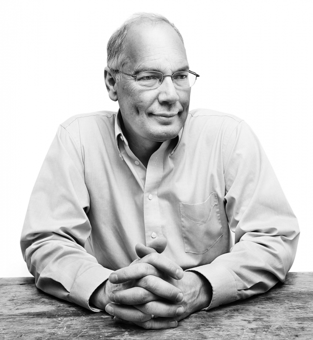 Portrait of a older professional man in black and white